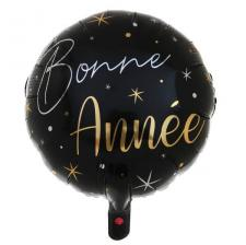 Ballon Bonne Année noir et or de 45cm pour le nouvel an (x1) REF/6980