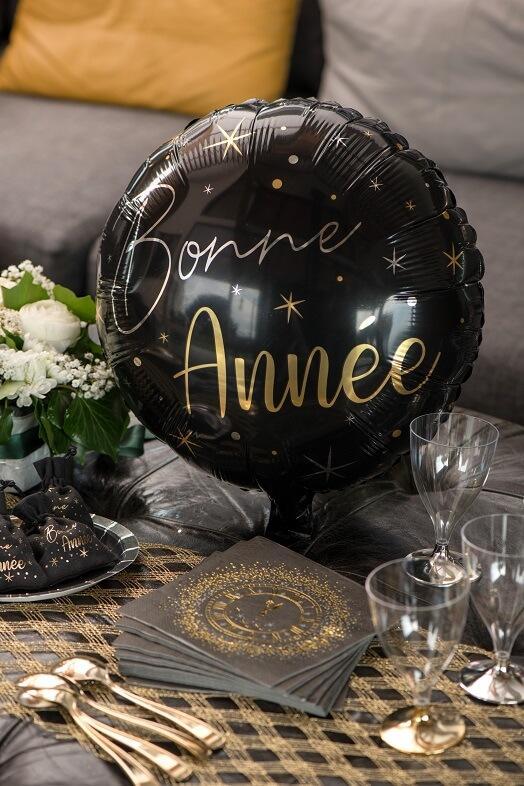 Ballon bonne annee noir et or nouvel an