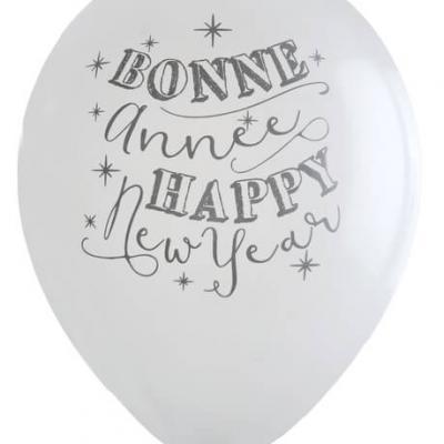 Ballon bonne année blanc (x8) REF/5436