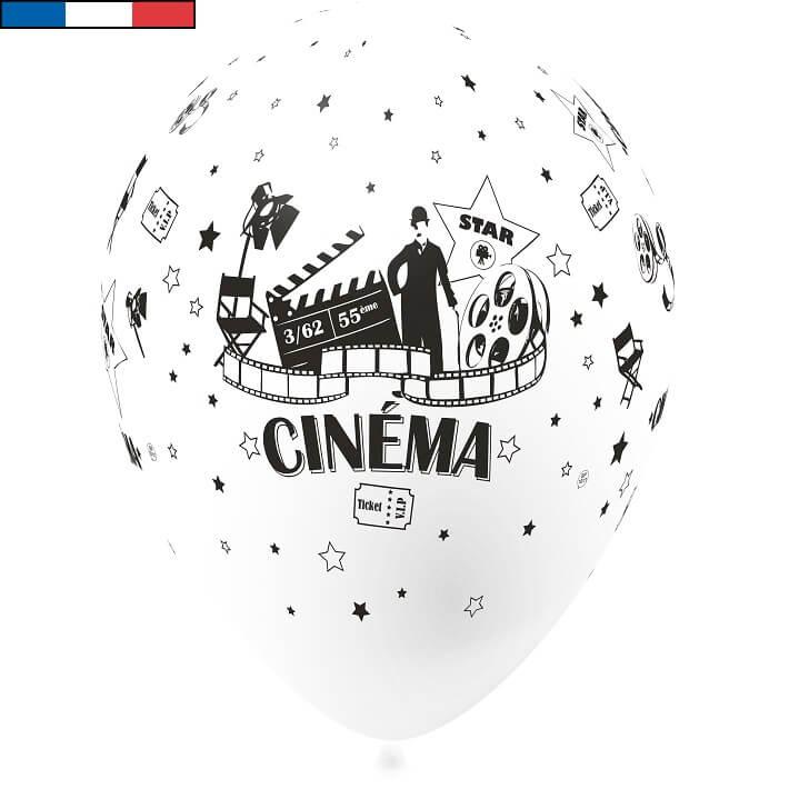 Ballon cinema blanc en latex de fabrication francaise