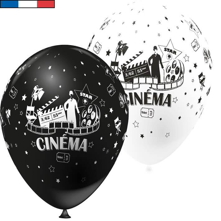 Ballon cinema noir et blanc en latex de fabrication francaise