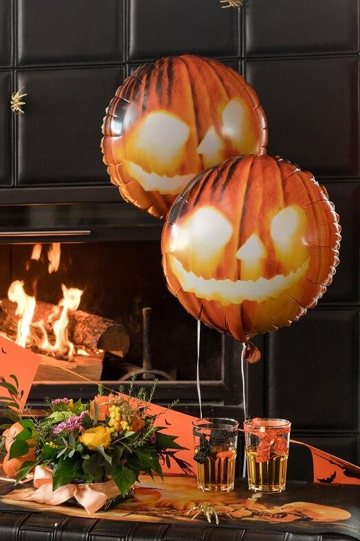Ballon citrouille halloween en aluminium orange