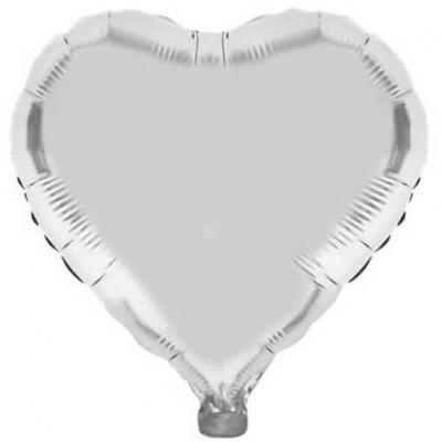 Ballon coeur argent en aluminium 36cm (x1) REF/BA3004