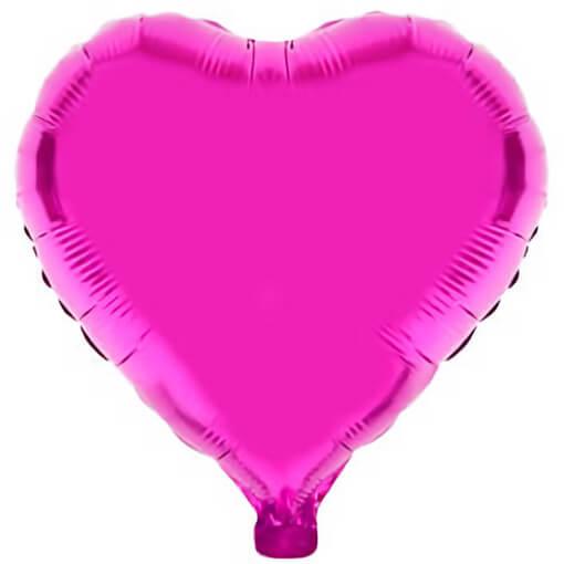 Ballon coeur fuchsia en aluminium