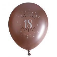 Ballon élégant anniversaire 18 ans en latex de 30cm rose gold (x6) REF/7401