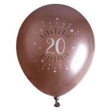 Ballon élégant anniversaire 20 ans en latex de 30cm rose gold (x6) REF/7401