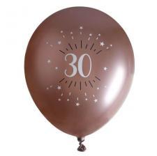 Ballon élégant anniversaire 30 ans en latex de 30cm rose gold (x6) REF/7401