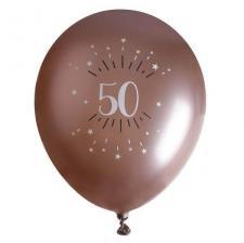 Ballon élégant anniversaire 50 ans en latex de 30cm rose gold (x6) REF/7401