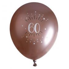 Ballon élégant anniversaire 60 ans en latex de 30cm rose gold (x6) REF/7401