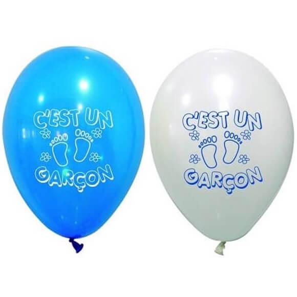 Ballon en latex baby shower garcon bleu et blanc
