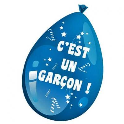 Ballon en latex c'est une garçon bleu baby shower (x10) REF/79600