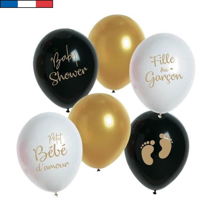 Ballon en latex francais baby shower blanc noir dore