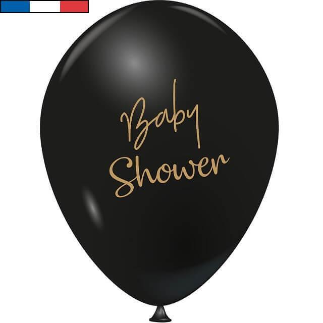 Ballon en latex francais baby shower noir