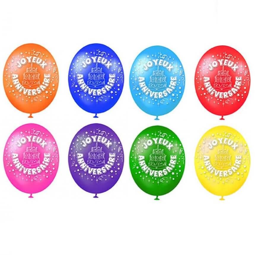 Ballon en latex joyeux anniversaire 30cm multicolore