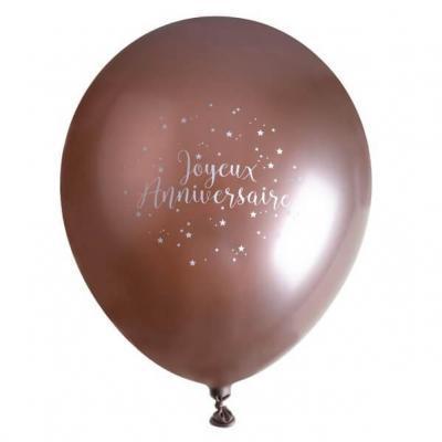 Ballon élégant joyeux anniversaire en latex de 30cm rose gold (x6) REF/7345