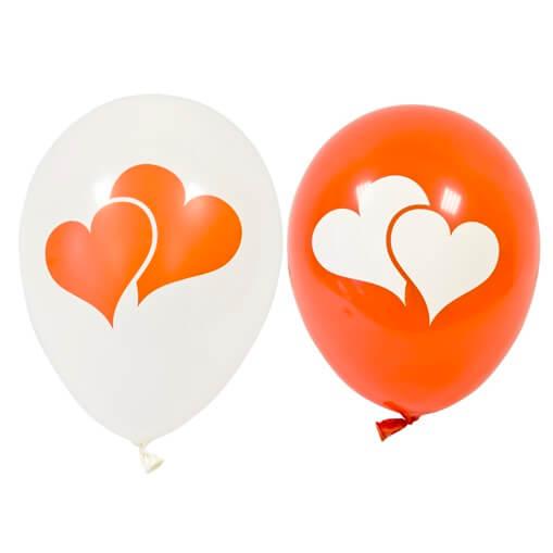 Ballon en latex mariage coeur blanc et rouge