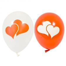 Ballon latex mariage coeur blanc et rouge 28cm (x8) REF/BAL241