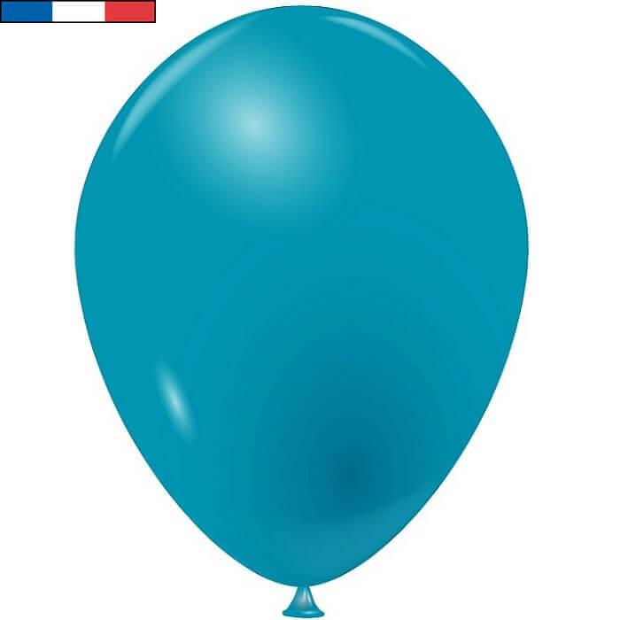 Ballon en latex opaque fabrication francaise 25cm bleu turquoise
