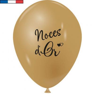 Ballon français mariage noces d'or en latex 30cm (x10) REF/20908