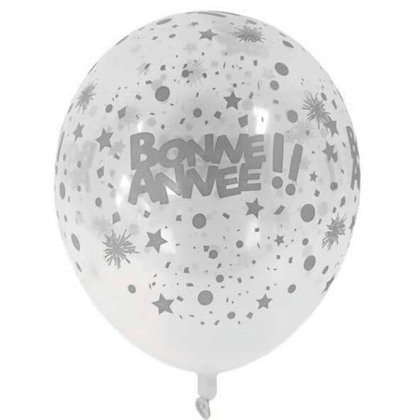 Ballon en latex transparent et argent bonne annee