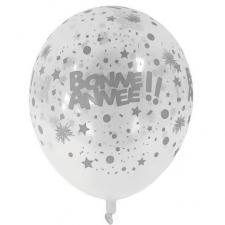 Ballon en latex transparent et argent Bonne Année de 30cm (x6) REF/BAL238