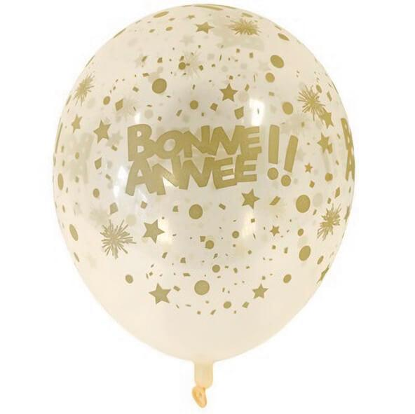 Ballon en latex transparent et or bonne annee