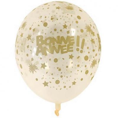 Ballon en latex transparent et or Bonne Année de 30cm (x6) REF/BAL238