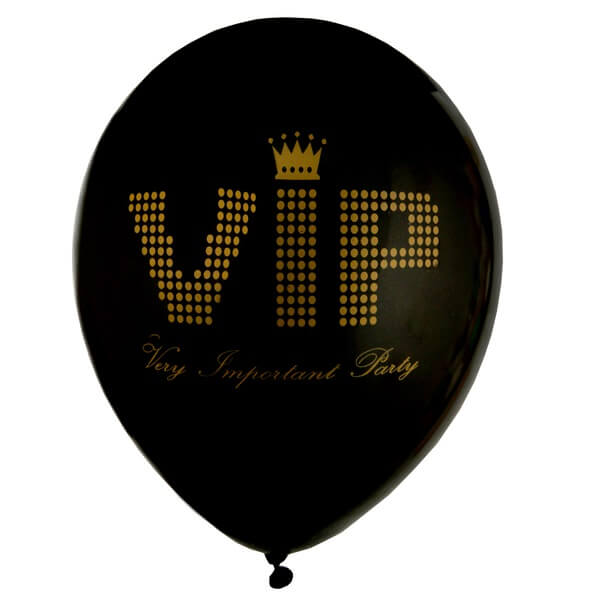 Ballon en latex vip noir et or
