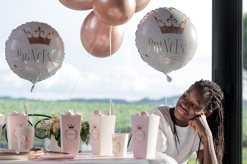 Ballon fete anniversaire princesse blanc et rose gold en aluminium