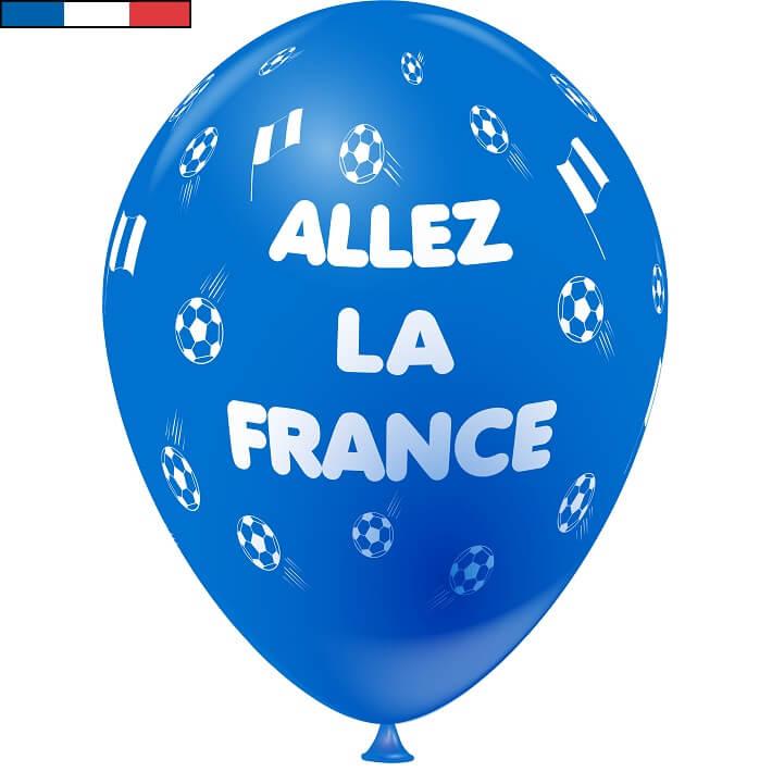 Ballon foot bleu en latex de fabrication francaise