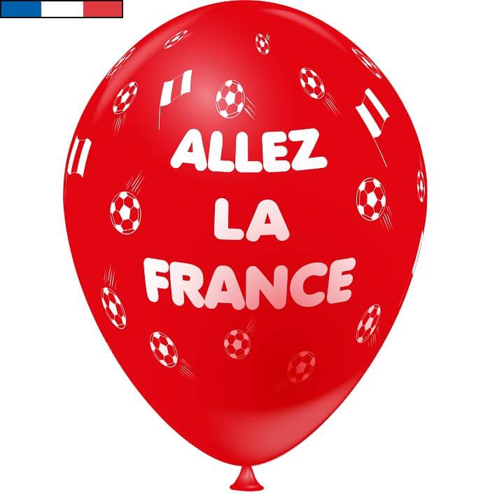 Ballon foot rouge en latex de fabrication francaise