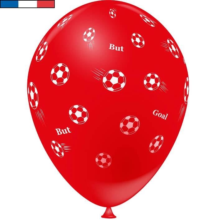 Ballon football rouge en latex de fabrication francaise