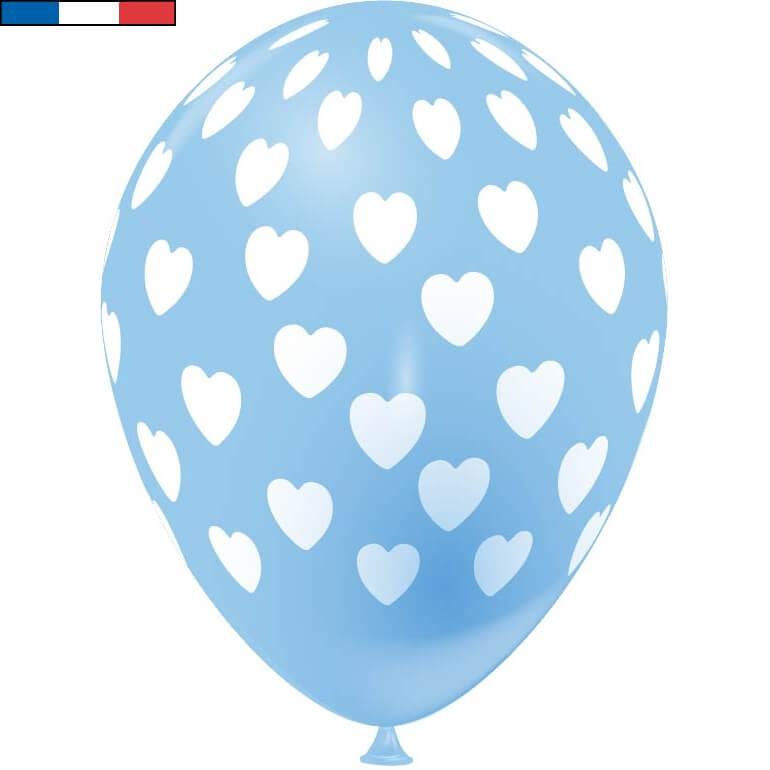 Ballon francais bleu ciel coeur en latex