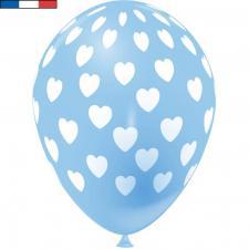 Ballon français bleu pâle en latex et coeurs 30cm (x8) REF/49145