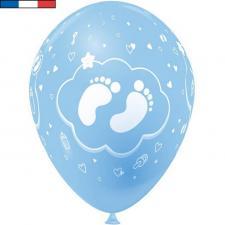 Ballon francais bleu ciel en latex naissance pied de bebe