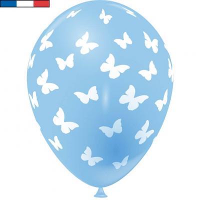 Ballon français bleu pâle en latex et papillons 30cm (x8) REF/49176