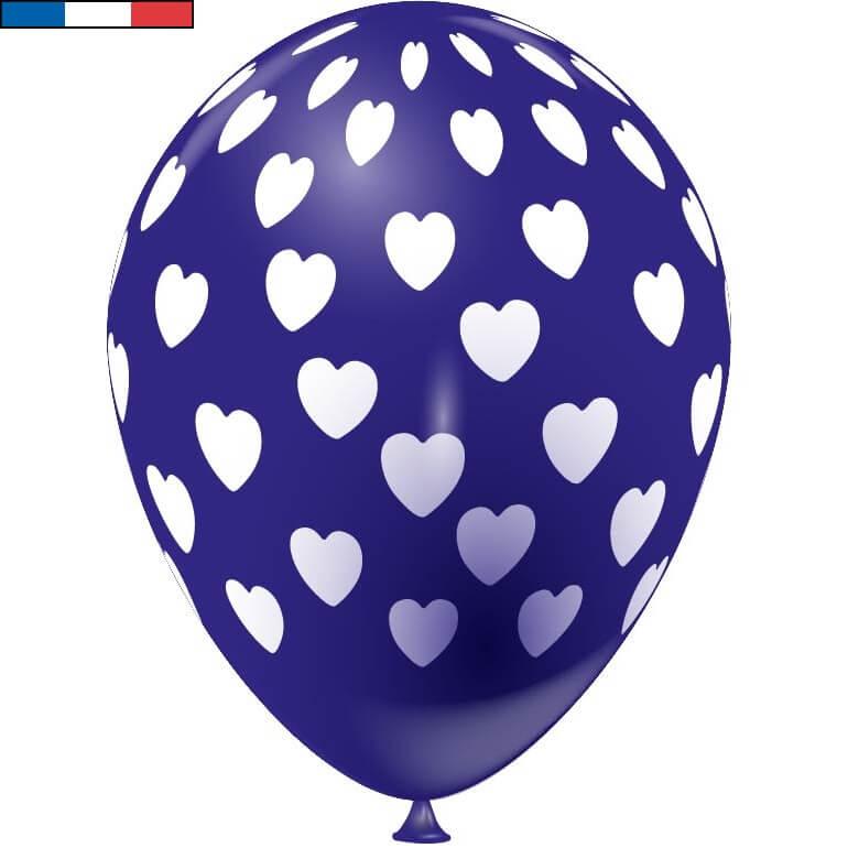 Ballon francais bleu marine coeur en latex