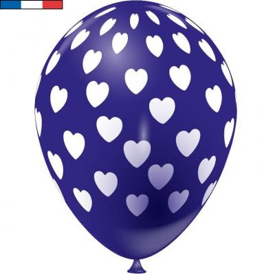Ballon français bleu marine en latex et coeurs 30cm (x8) REF/49145