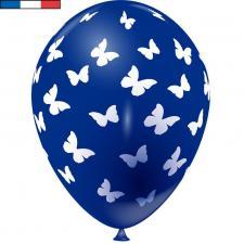 Ballon français bleu marine en latex et papillons 30cm (x8) REF/49176