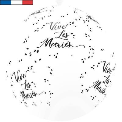 Ballon français mariage blanc et noir 1m en latex (x1) REF/11975