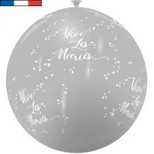 Ballon français mariage gris et blanc 1m en latex (x1) REF/11975