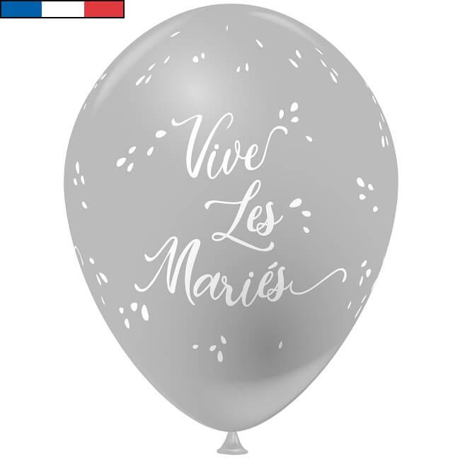 Ballon francais gris et blanc mariage vive les maries en latex