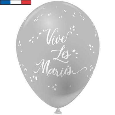 Ballon français mariage gris 30cm en latex (x8) REF/9309