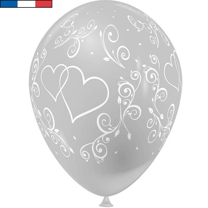 Ballon francais mariage argent arabesque coeur en latex