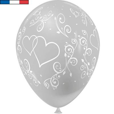 Ballon français mariage argent avec arabesques et coeurs (x8) REF/43686
