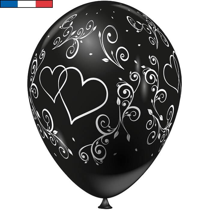 Ballon francais mariage noir arabesque coeur en latex