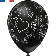Ballon français mariage noir avec arabesques et coeurs (x8) REF/43754