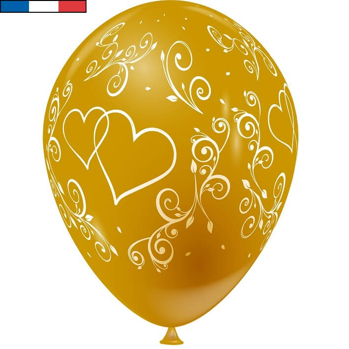 Ballon francais mariage or arabesque coeur en latex