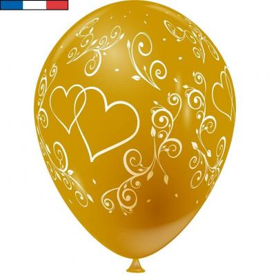 Ballon français mariage or avec arabesques et coeurs (x8) REF/44218