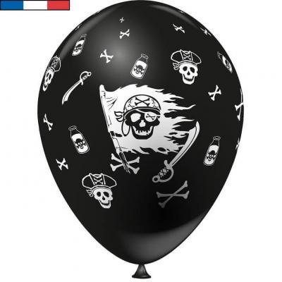 Ballon français pirate noir en latex 30cm (x8) REF/39160